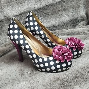NWOT Satin Polkadot Pumps